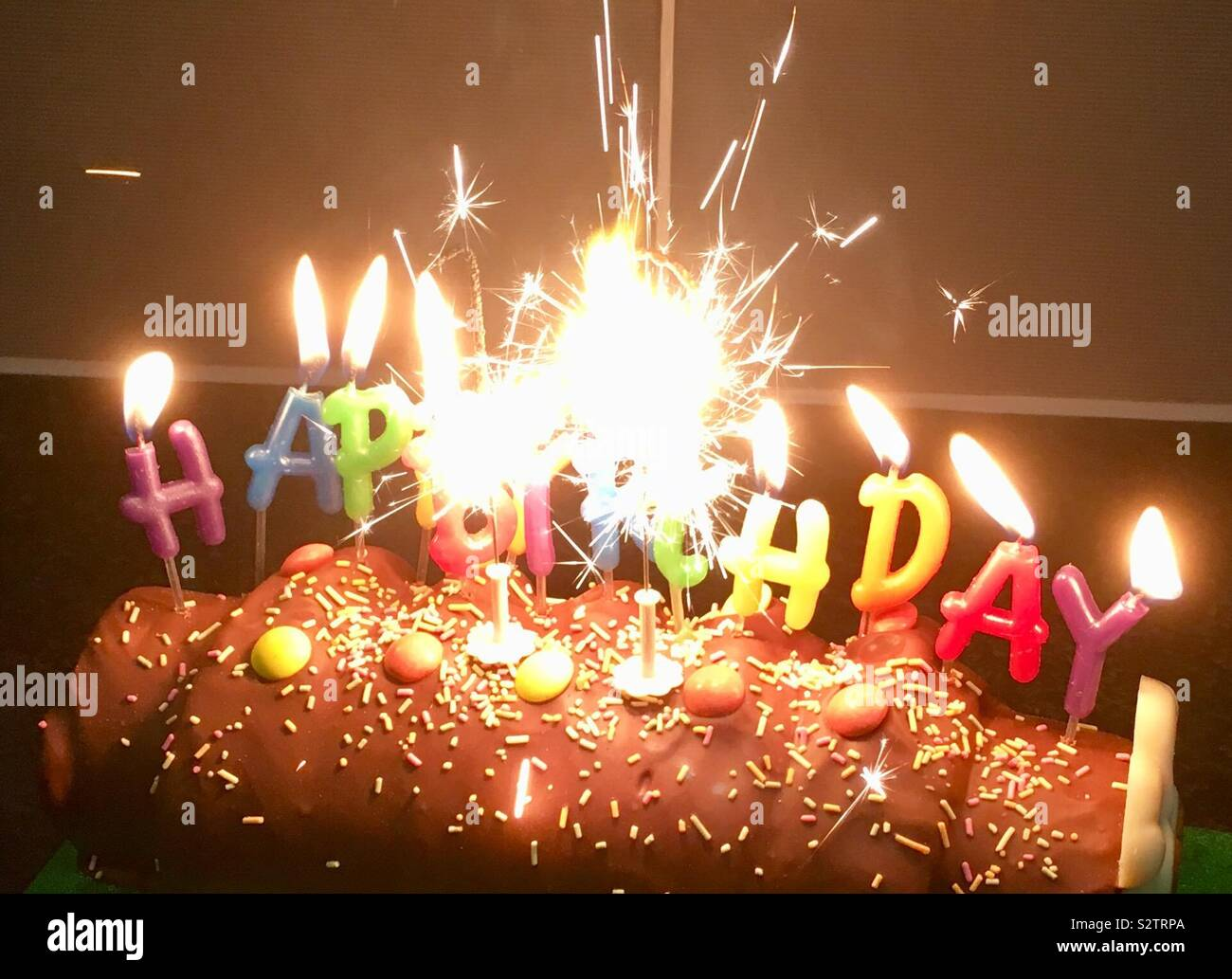 Magnificent Happy Birthday Cake With Candles And Sparklers Stock Photo Funny Birthday Cards Online Alyptdamsfinfo
