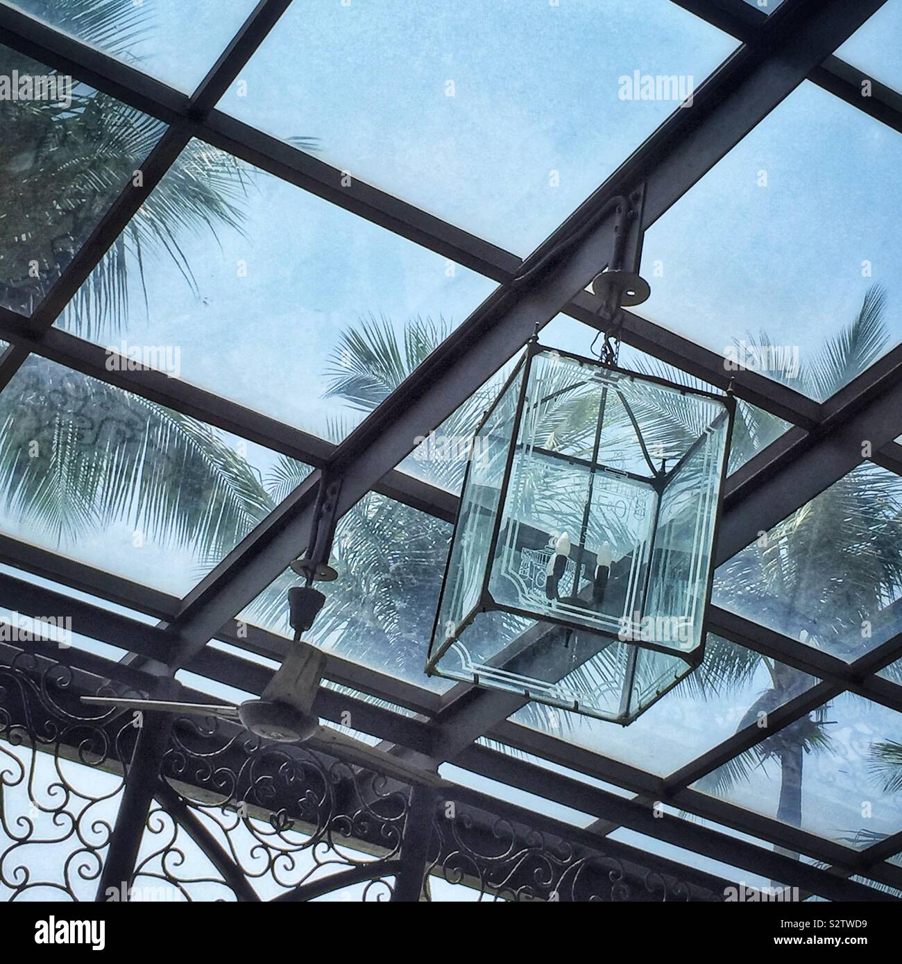 Detail Of The Glass Roof And A Lamp In The Outdoor Area Of Sarkies Restaurant In The Eastern Orient Hotel George Town Penang Malaysia Stock Photo Alamy