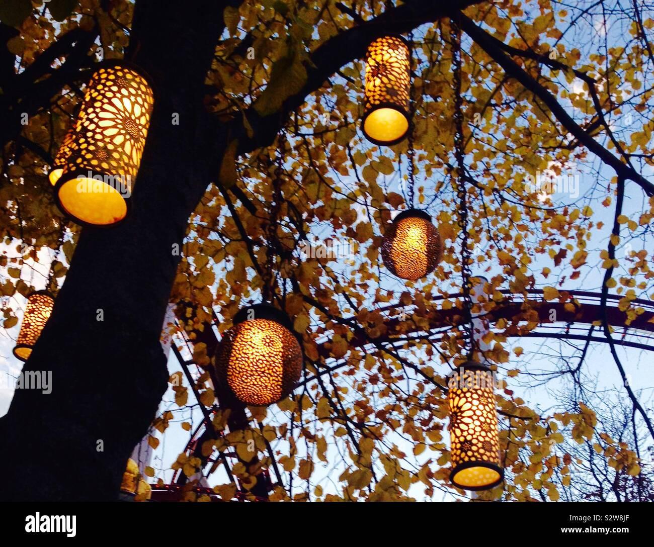 Fairytale Lanterns Hanging From Trees And Illuminating The Park Taken In Tivoli Gardens Kobenhavn Copenhagen Denmark Stock Photo Alamy