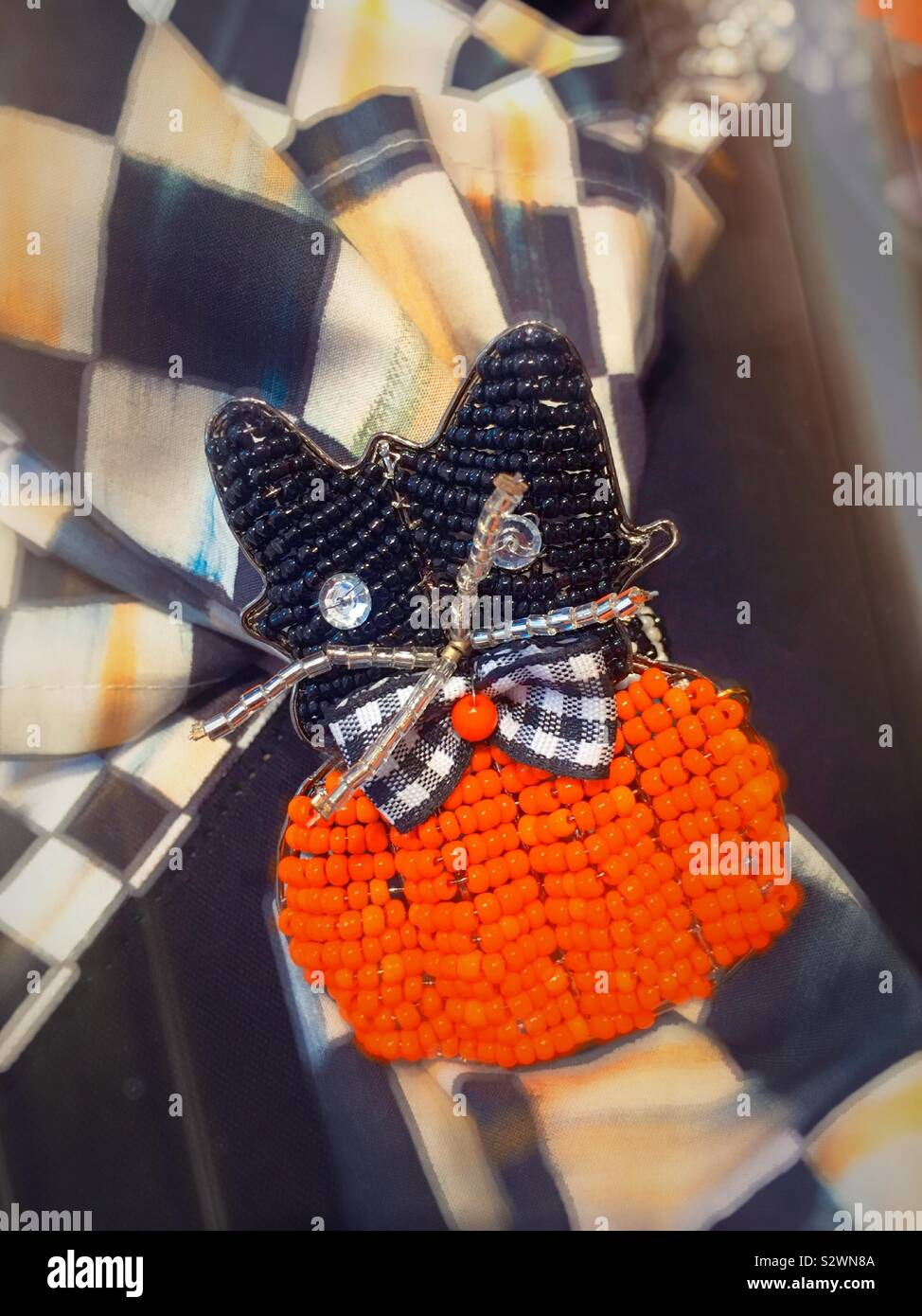 Halloween Themed Napkin Holder Of A Black Cat And Pumpkin Beads Mackenzie Childs Home Decor Store In Soho New York City United States Stock Photo Alamy