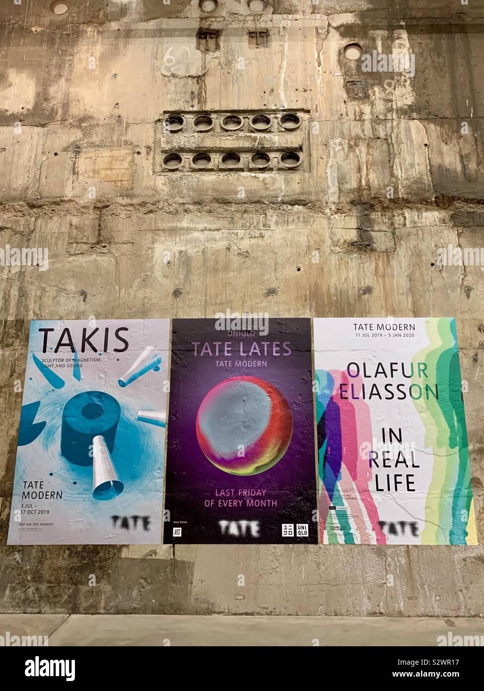 London, UK - 29 August 2019: Posters inside Tate Modern