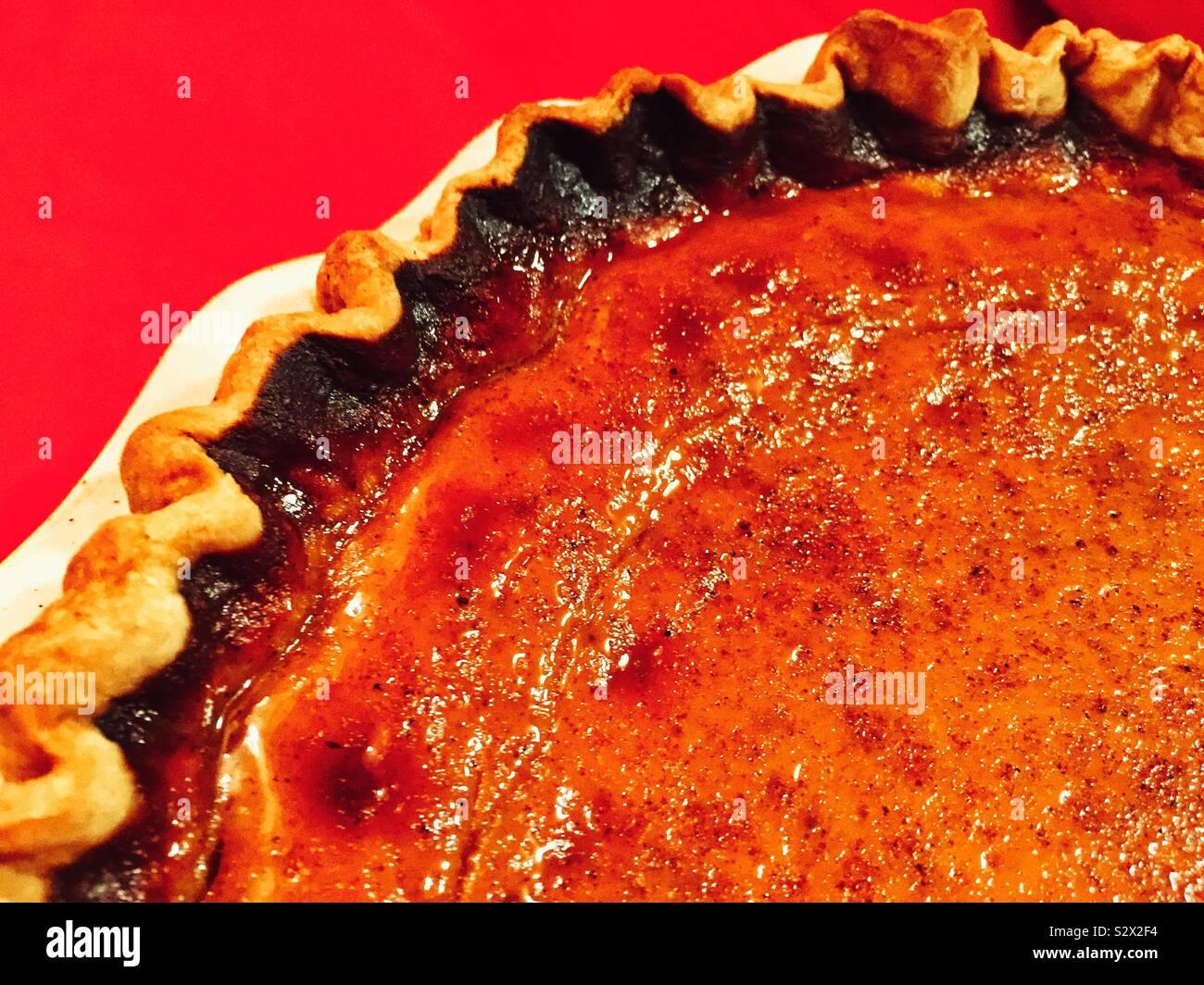 Classic American autumn treat -pumpkin pie Stock Photo