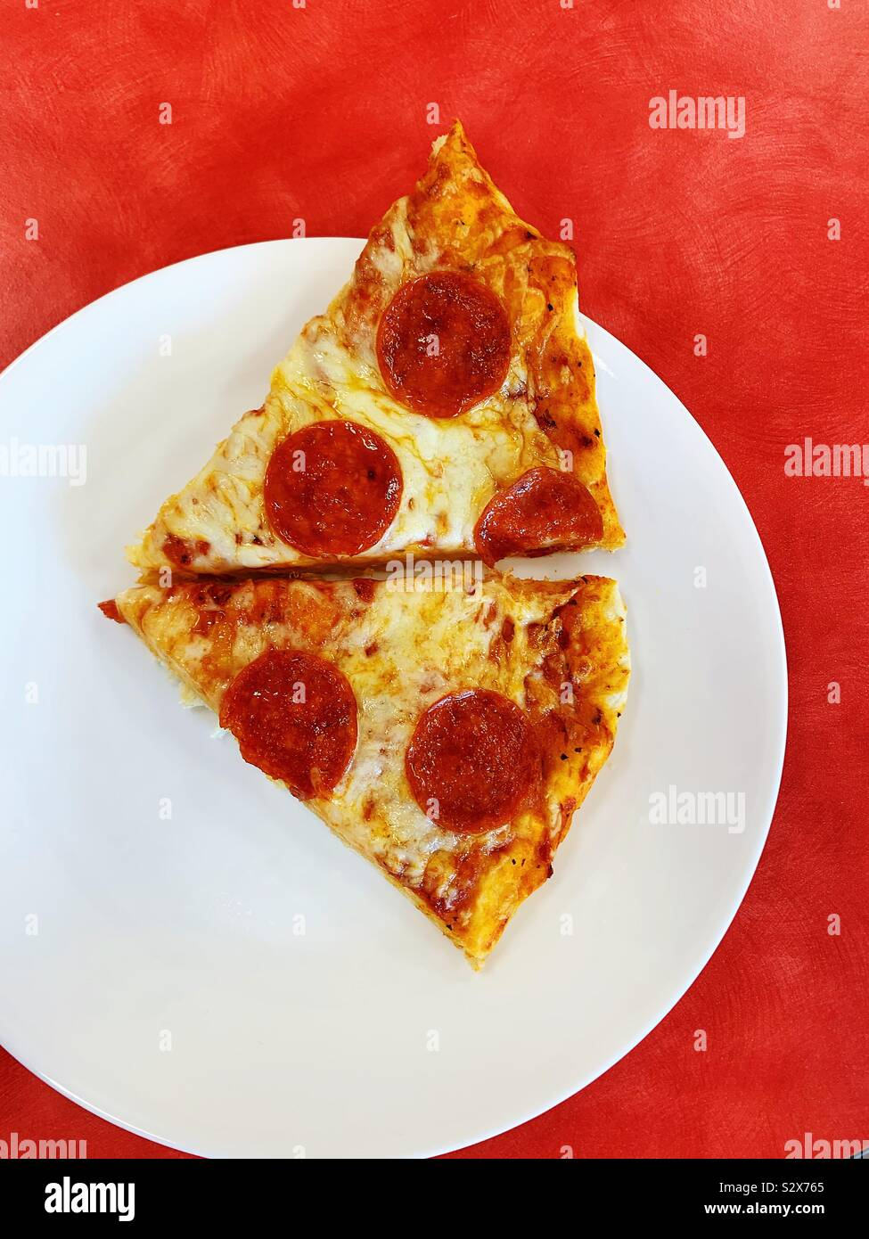 Homemade pepperoni pizza Stock Photo