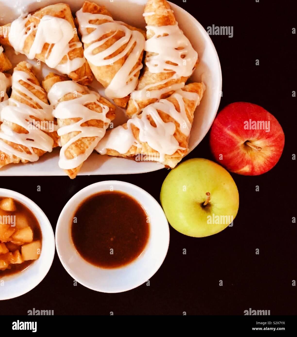 Fall baking apple turnovers Stock Photo