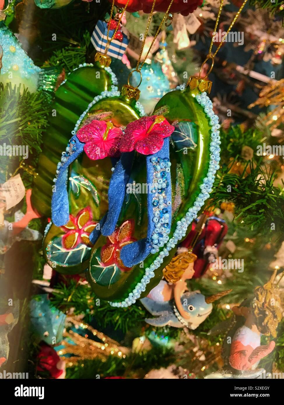Glass Beaded Palm Tree Christmas Beach Tropical Beach Island Holiday Ornament