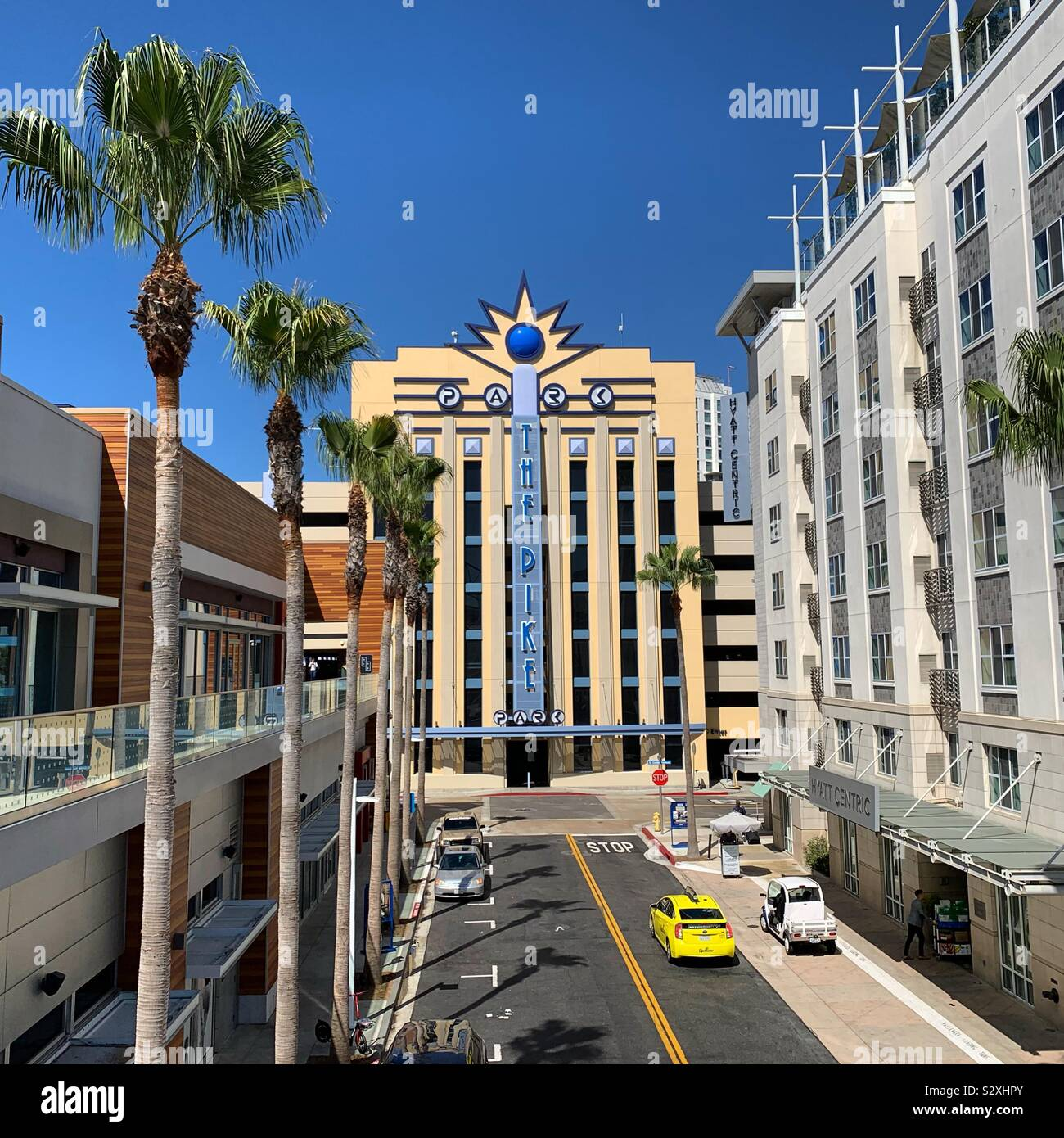 Looking Towards The Pike Outlets Parking Garage Hyatt Centric The Pike Long Beach To The Right Long Beach California United States Stock Photo Alamy