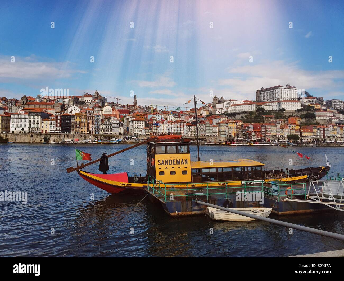 Rabelo boat, used to transport Port Wine from the Douro Valley to the cellars near the city of Porto. Now a modern tourist cruise vessel , Porto, Portugal Stock Photo