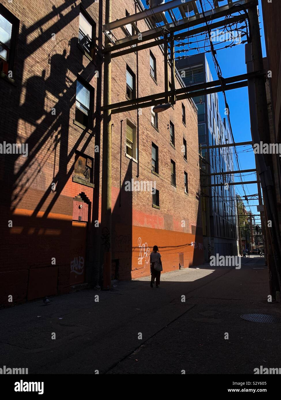 Back Alley Silhouette Stock Photo