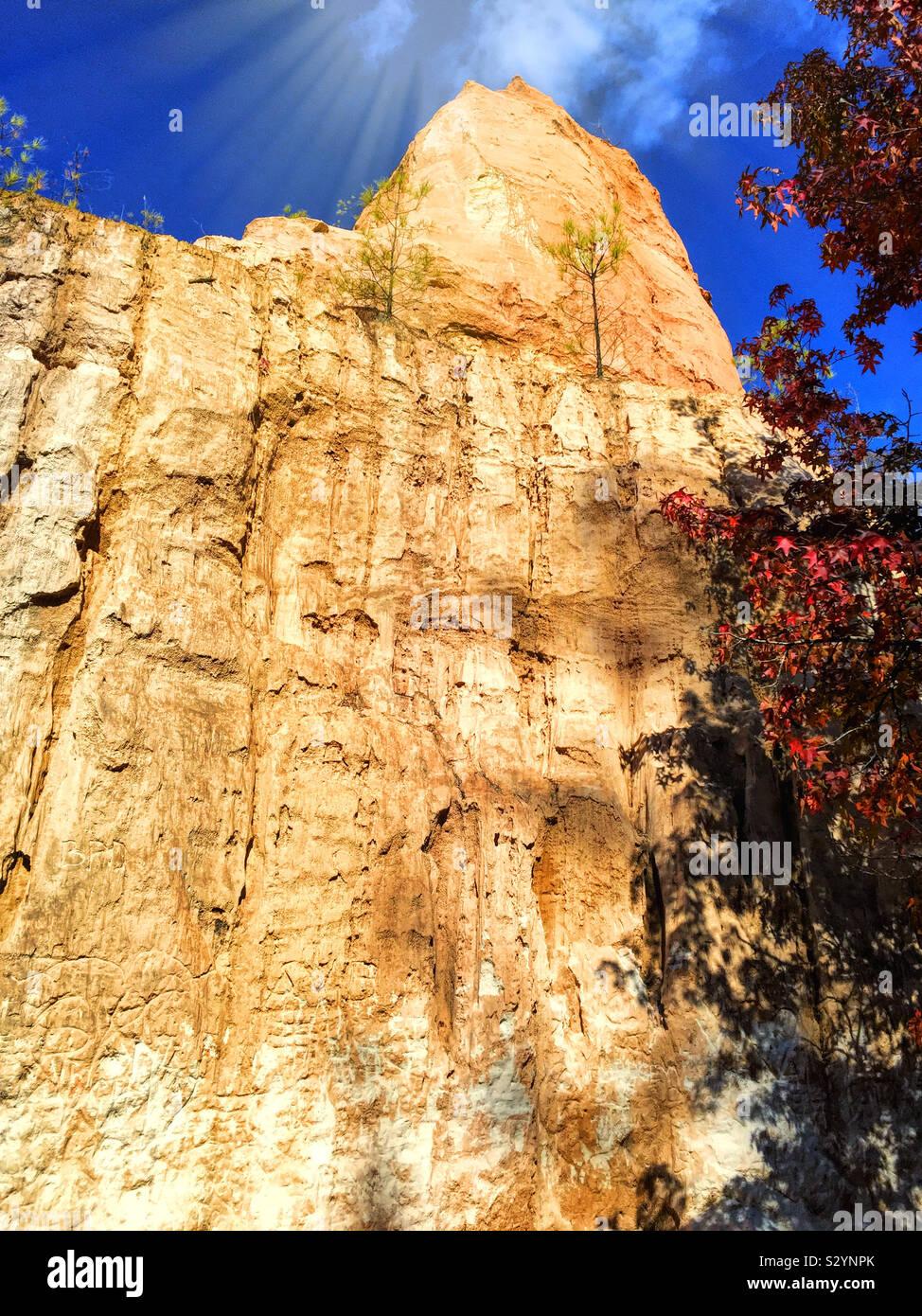 Little Grand Canyon at Providence Canyon State Park in Lumpkin Georgia USA shot on a beautiful autumn season day. Stock Photo