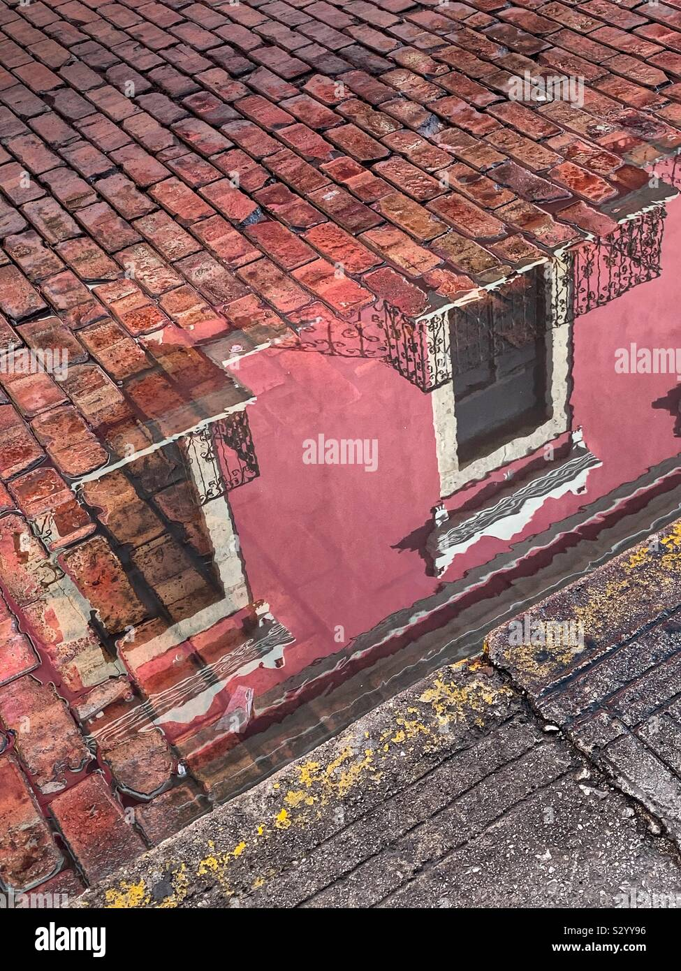 A pink building is beautifully reflected in a rain puddle curbside on a street in Mérida, México. Stock Photo