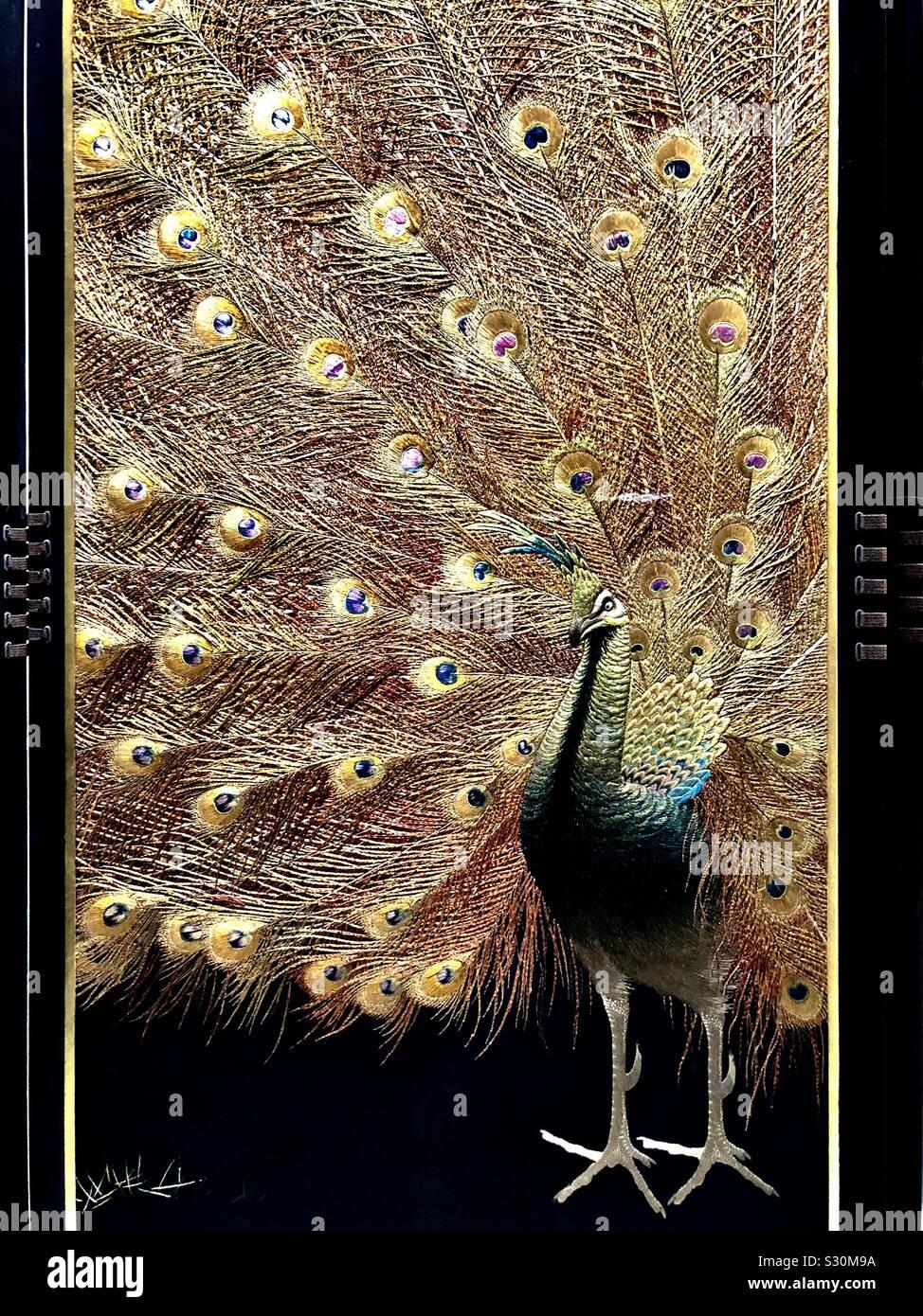 Silk embroidery peacock, Japanese folding screen Stock Photo