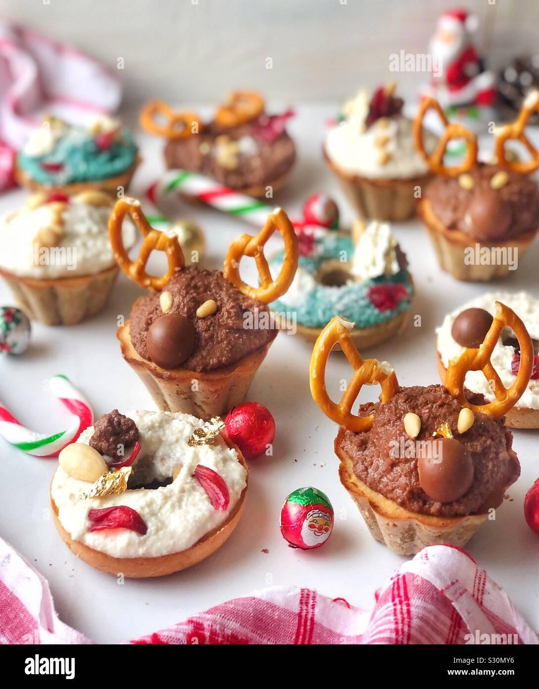 Christmas cupcakes bakes reindeer Stock Photo