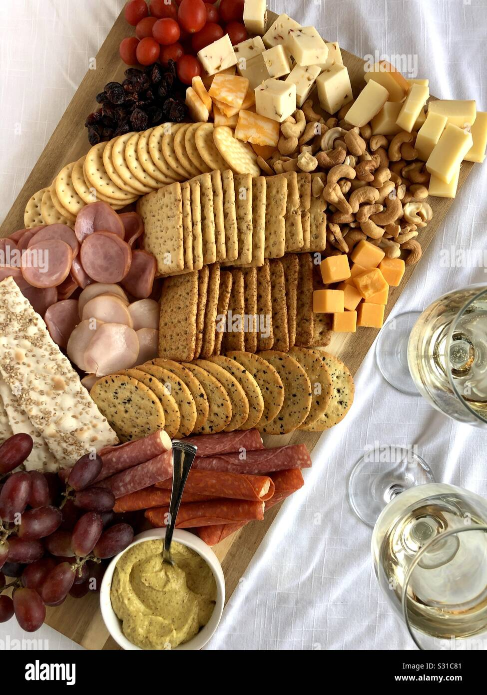 Charcuterie board with wine Stock Photo