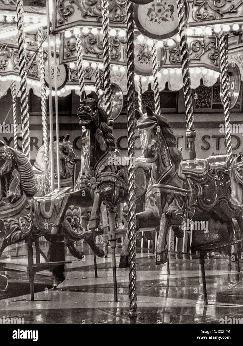 Carousel Horses England Uk B W Stock Photo Alamy