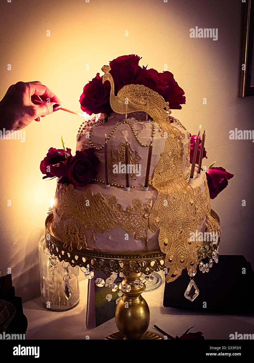 Awesome A Photograph Of An Elaborate Birthday Cake Taken In Candle Light Personalised Birthday Cards Akebfashionlily Jamesorg