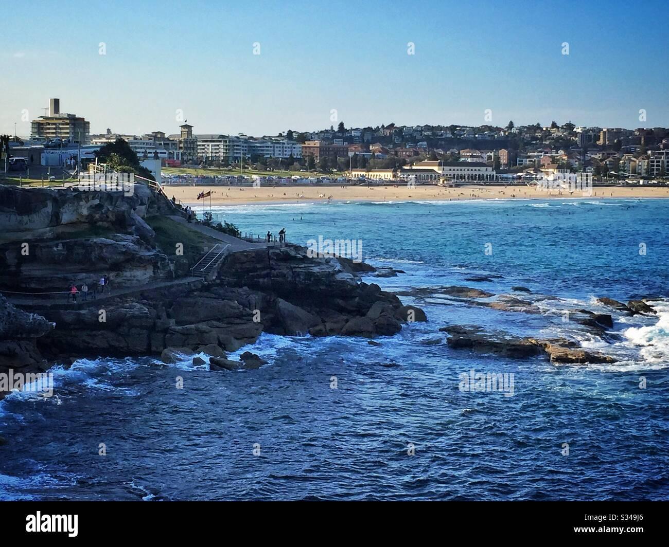 Bondi Beach from the Bondi to Coogee coastal walk, Sydney, NSW, Australia Stock Photo