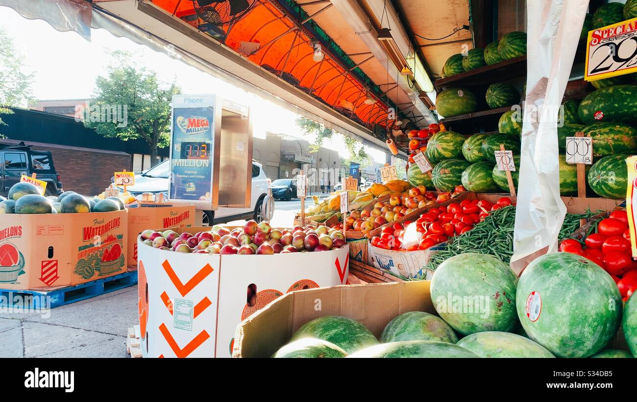 Fruit Stand Outside Stock Photo