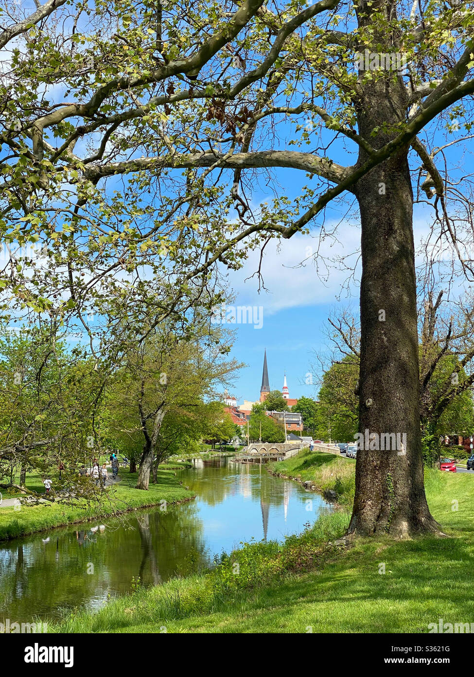 View from Baker Park of Carroll Creek and Old Towne Frederick Maryland Stock Photo