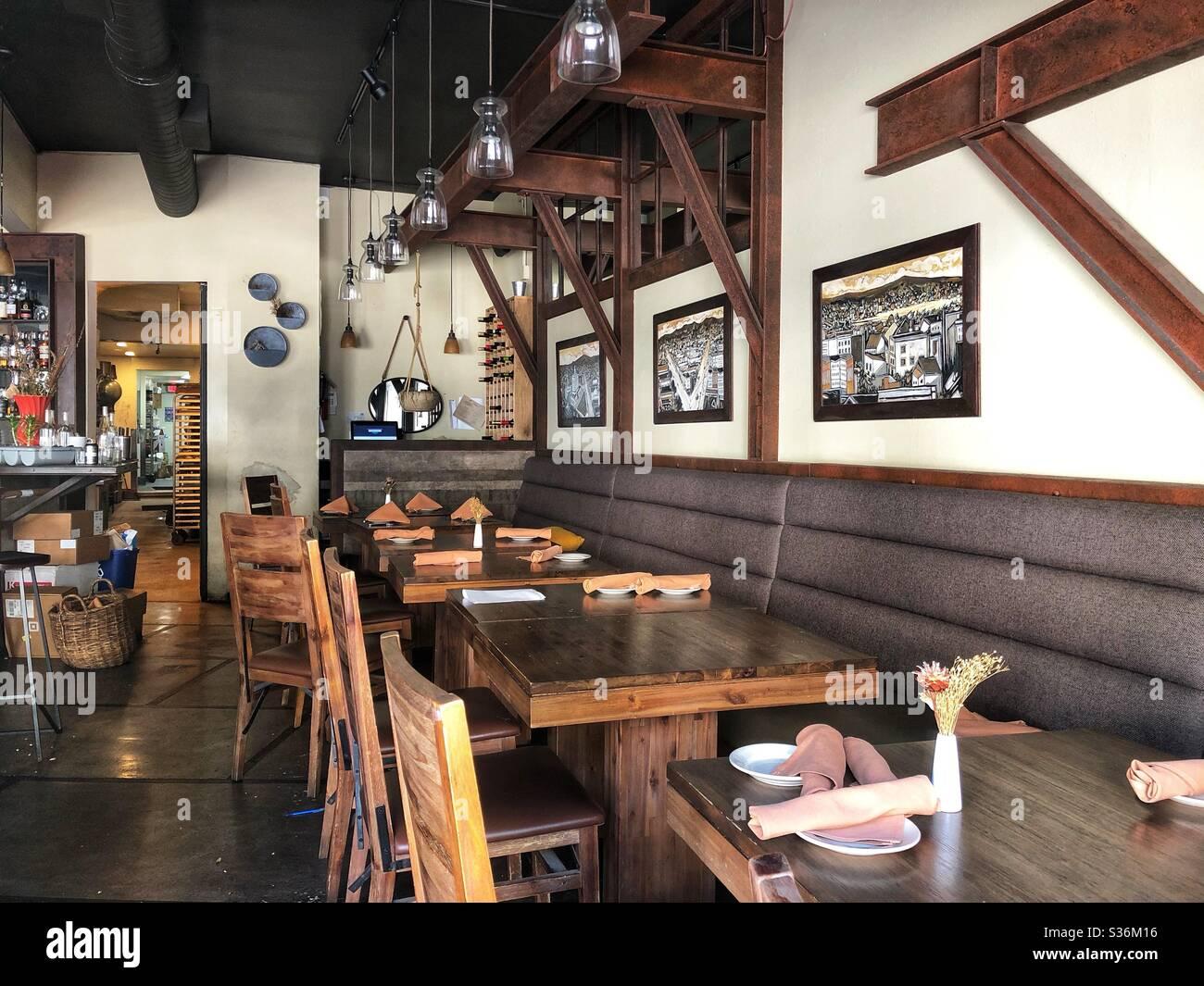 Empty restaurant during shut down in Oakland, California. Stock Photo