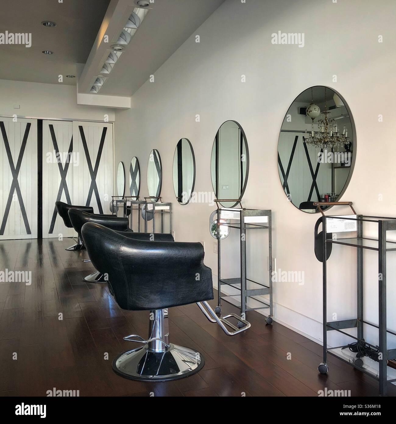 Empty hair salon during Covid shut down in Oakland, California. Stock Photo