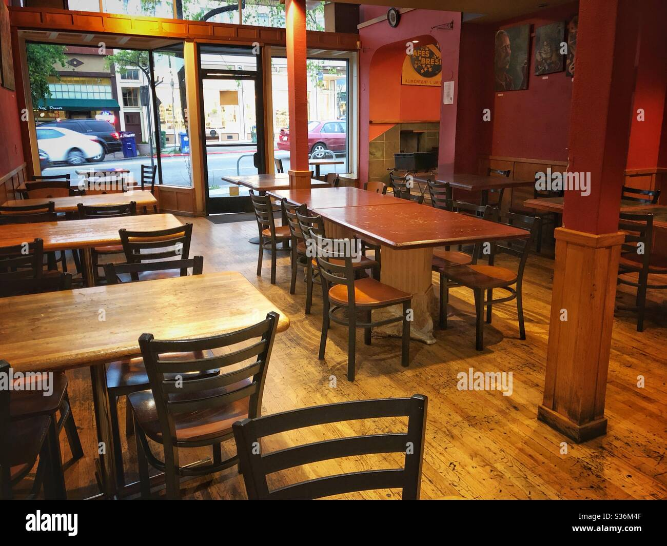 Empty cafe at the start of the pandemic in Berkeley, California. Stock Photo
