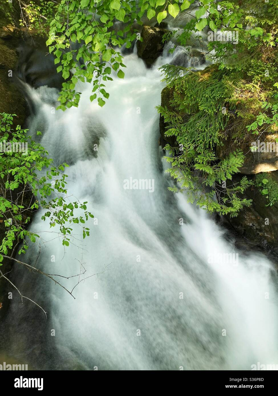 Long exposure of Giessbach waterfall, Switzerland Stock Photo