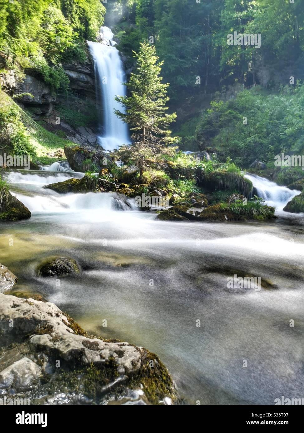 Long exposure of Giessbach waterfall, Bern, Switzerland Stock Photo