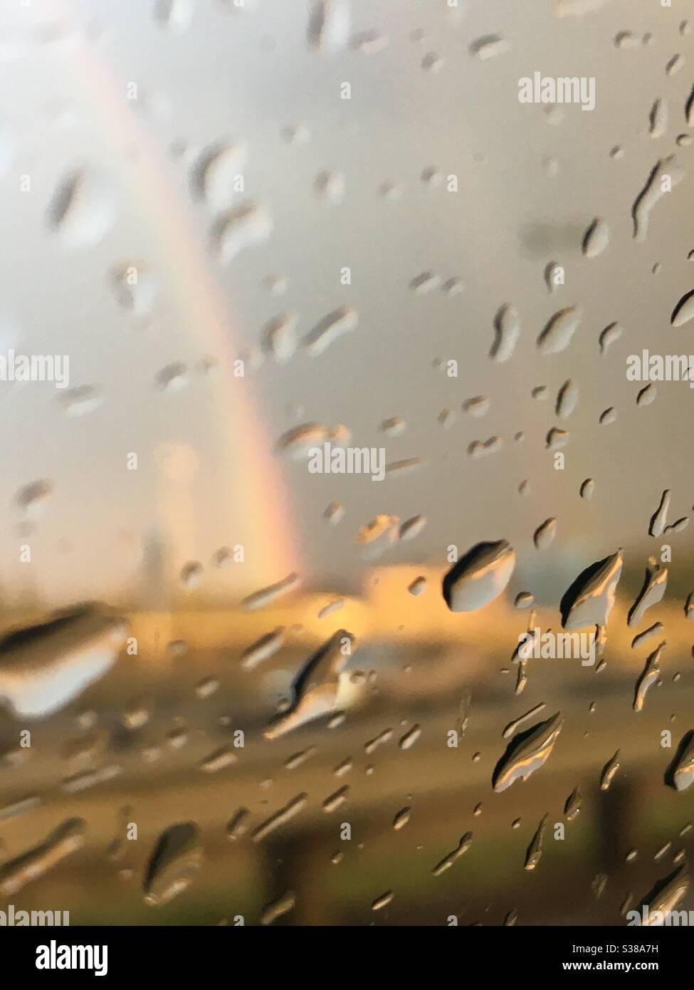 rainbow on a rainy day Stock Photo