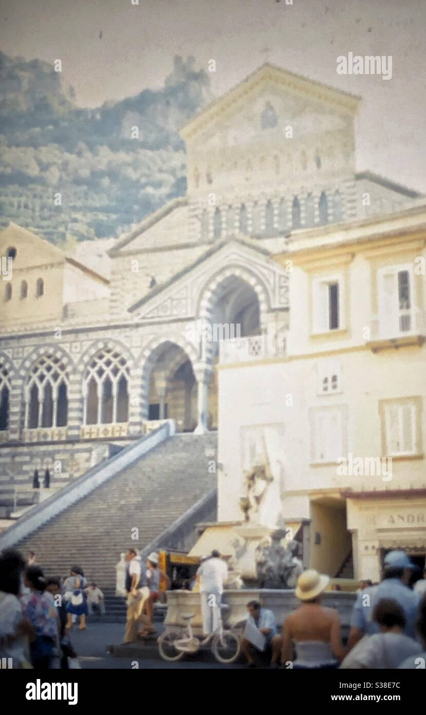 Vintage image of the church in Amalfi on the Amalfi coast in Italy. Stock Photo