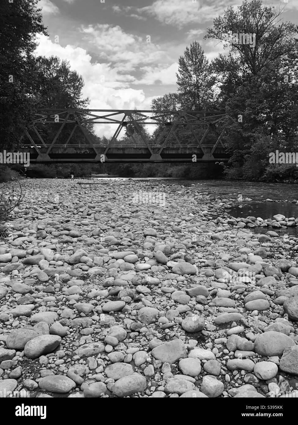 bridge over a stream Stock Photo