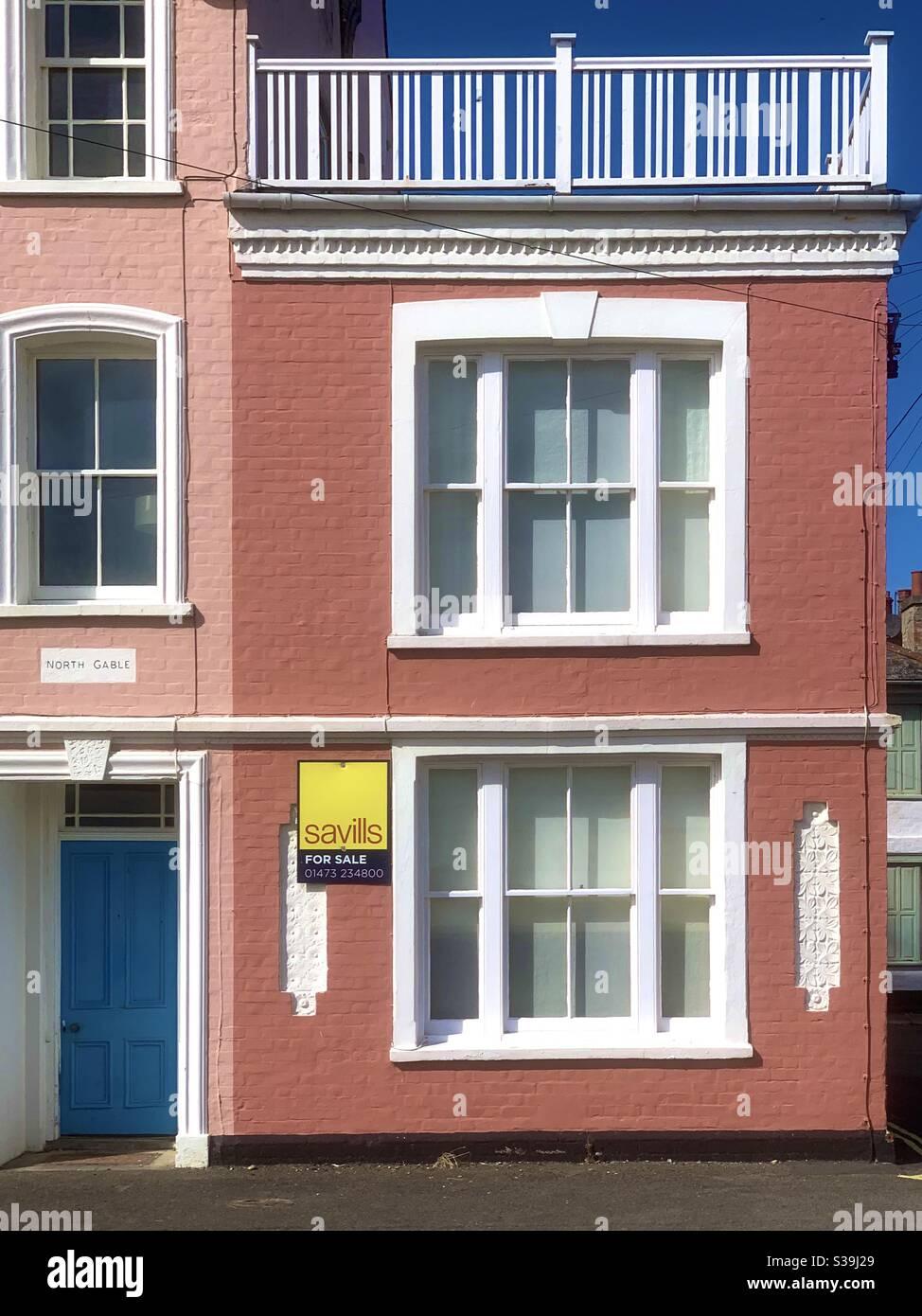 Aldeburgh, Suffolk, UK - 9 September 2020: Flinders Cottage on the seafront up for sale. Stock Photo