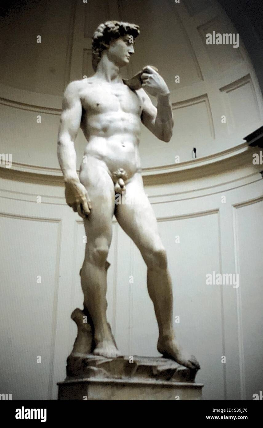 Michelangelo's David in The Academy in Florence. Stock Photo