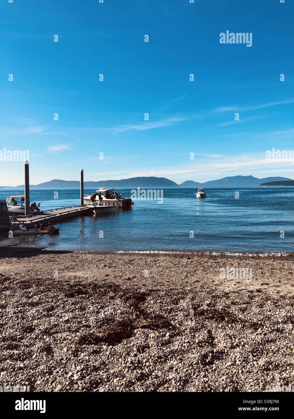 docked boats Stock Photo