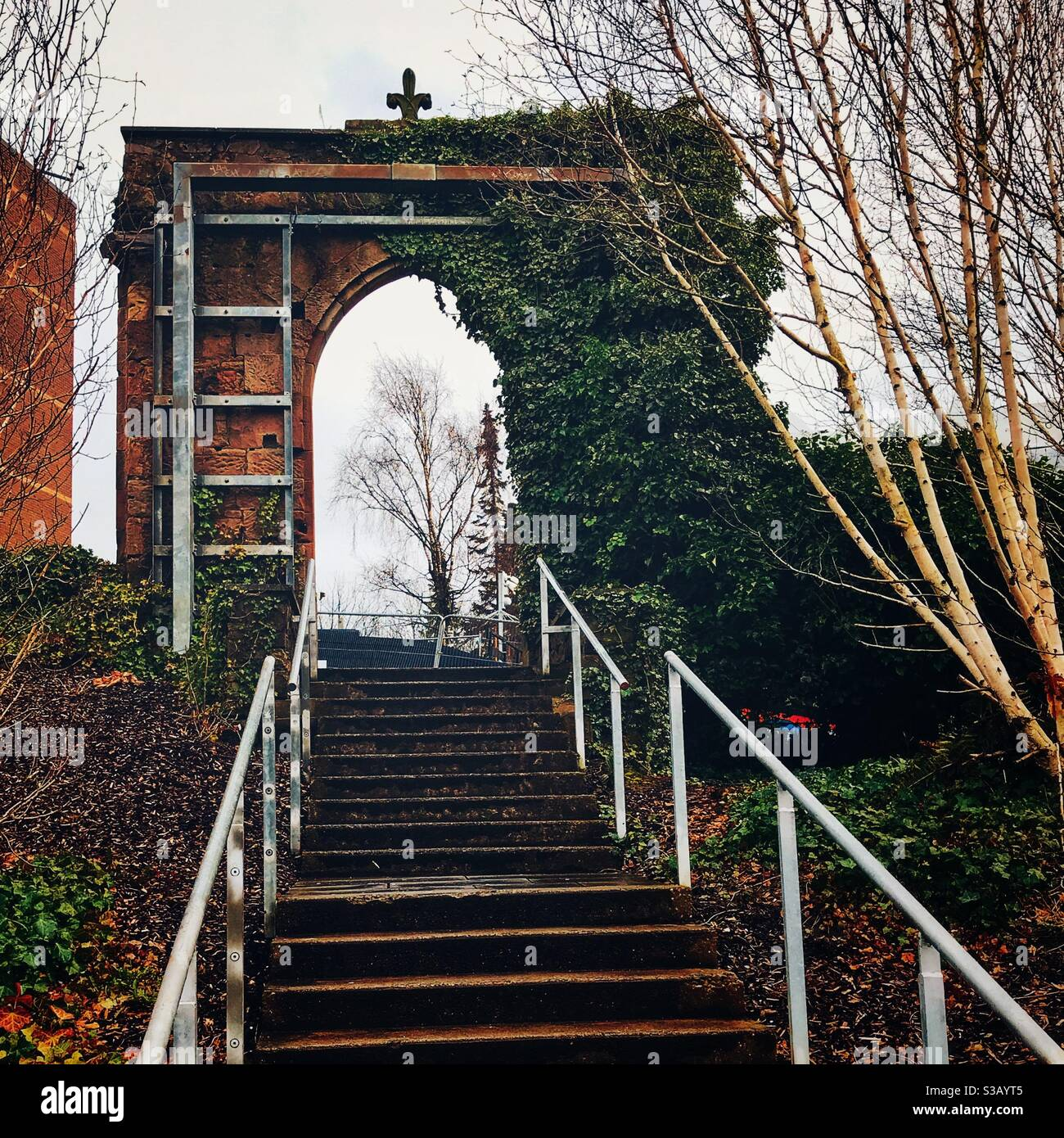 North Portland Street Arch in Rottenrow Gardens, Glasgow, Scotland. Stock Photo