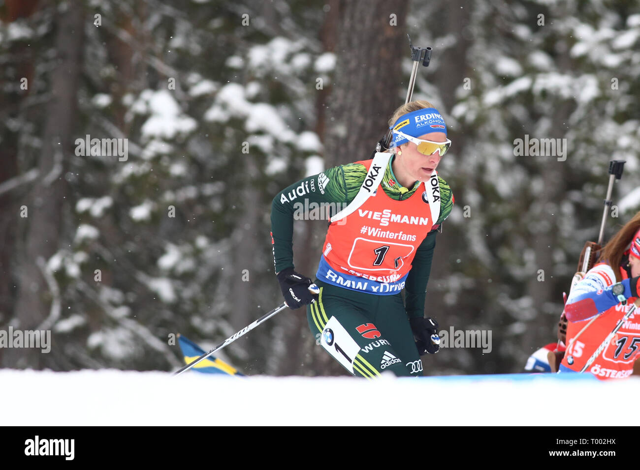 Ostersund, Sweden. 16th Mar, 2019. IBU World Championships Biathlon, day 8, ladies relay; Vanessa Hinz (GER) Credit: Action Plus Sports/Alamy Live News - Stock Image