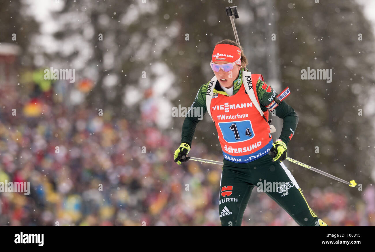 Östersund, Sweden. 16th March 2019.  World Championship, relay 4 x 6 km, women. Laura Dahlmeier from Germany in action. Credit: dpa picture alliance/Alamy Live News Credit: dpa picture alliance/Alamy Live News Credit: dpa picture alliance/Alamy Live News - Stock Image