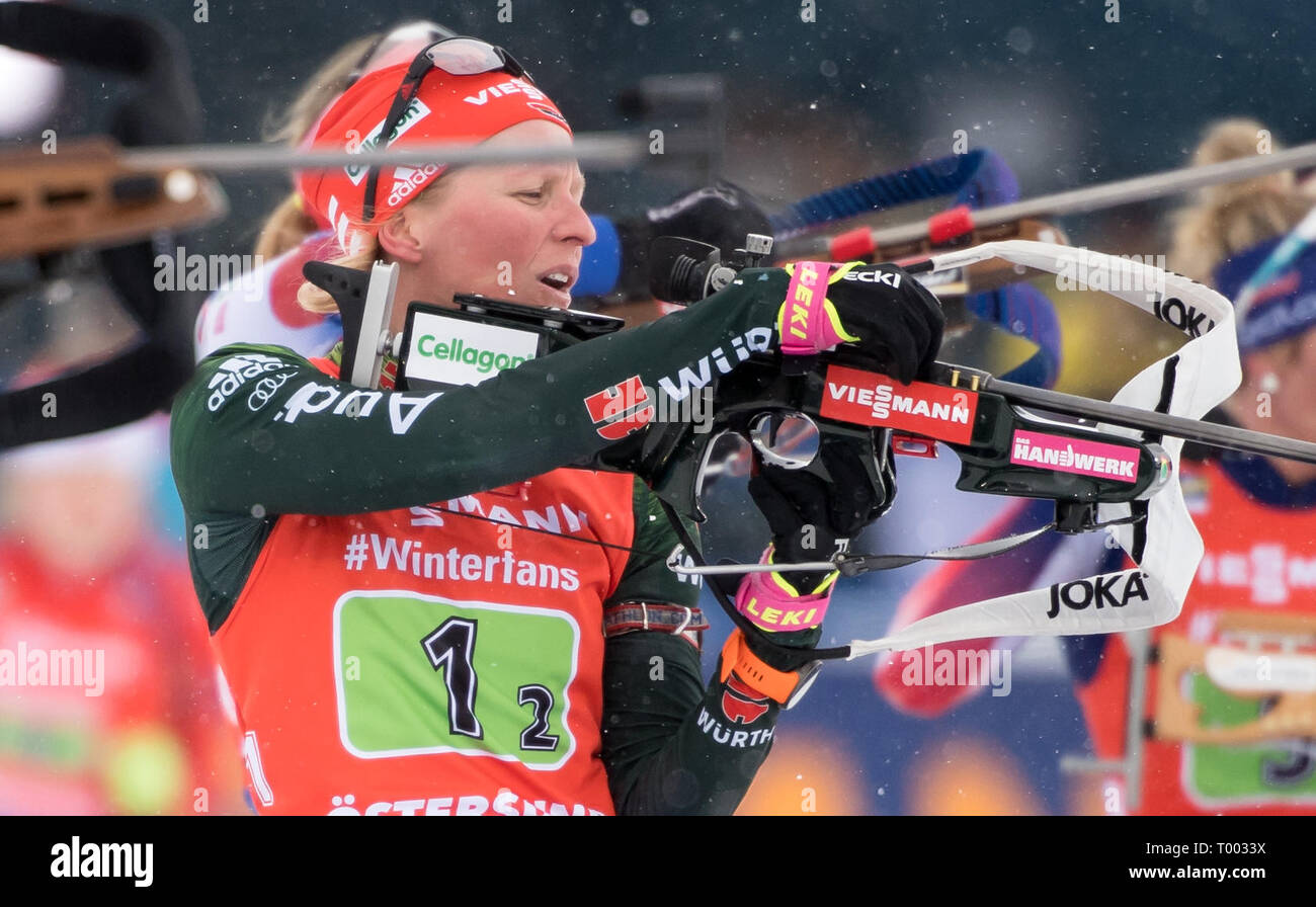 Östersund, Sweden. 16th March 2019.  World Championship, Relay 4 x 6 km, Women. Franziska Hildebrand from Germany in action while shooting. Credit: dpa picture alliance/Alamy Live News Credit: dpa picture alliance/Alamy Live News Credit: dpa picture alliance/Alamy Live News - Stock Image
