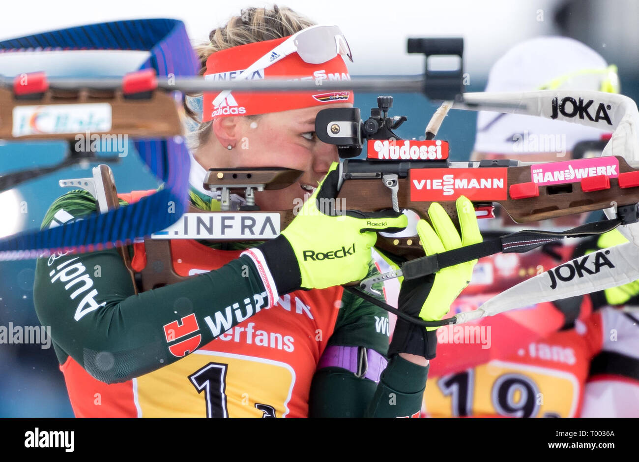 Östersund, Sweden. 16th March 2019.  World Championship, relay 4 x 6 km, women. Denise Herrmann from Germany in action. Credit: dpa picture alliance/Alamy Live News Credit: dpa picture alliance/Alamy Live News Credit: dpa picture alliance/Alamy Live News - Stock Image