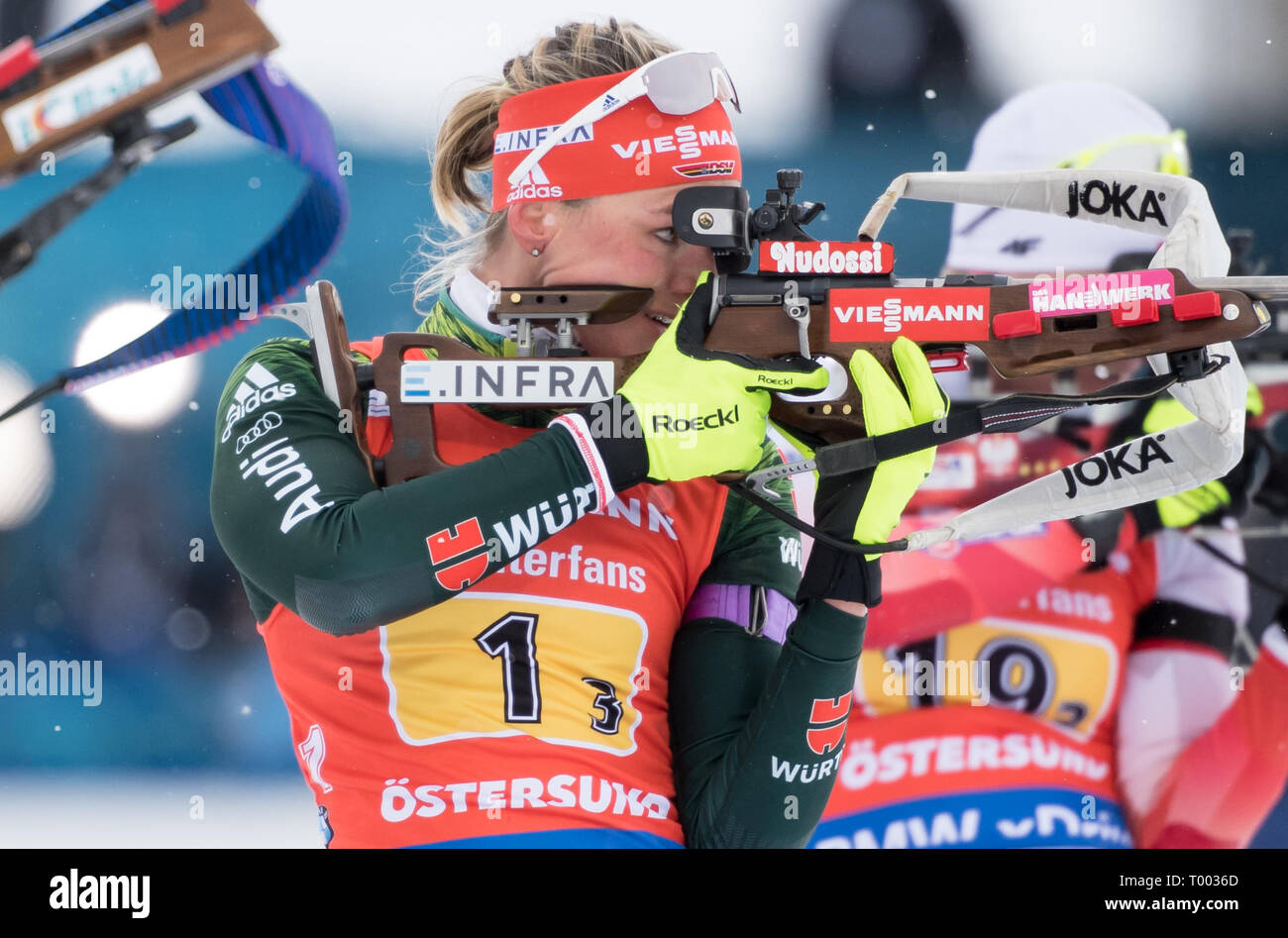 Östersund, Sweden. 16th March 2019.  World Championship, Relay 4 x 6 km, Women. Denise Herrmann from Germany in action while shooting. Credit: dpa picture alliance/Alamy Live News Credit: dpa picture alliance/Alamy Live News Credit: dpa picture alliance/Alamy Live News - Stock Image