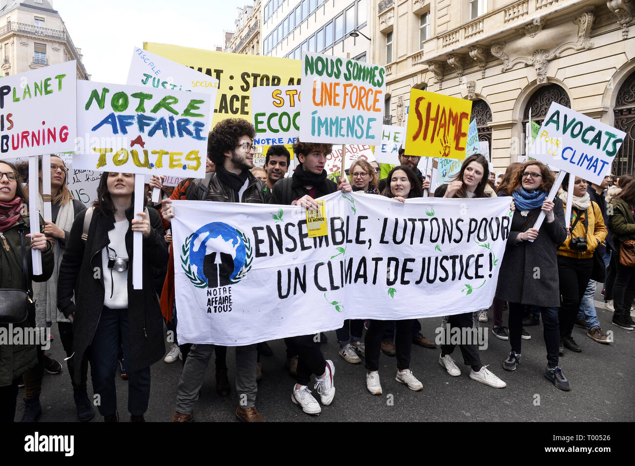 The March of the Century - Paris, France. 16th March 2019. 45 000 people took part in the demonstration against climate change (La Marche du Siécle) in Paris on the 16th march 2019 Credit: Frédéric VIELCANET/Alamy Live News - Stock Image