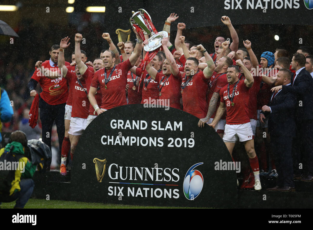 Cardiff, UK. 16th March 2019. Wales players lift the trophy's and celebrate winning the Grand Slam and Guinness six nations championship.  Wales v Ireland , Guinness Six Nations 2019 international rugby match at the Principality Stadium in Cardiff ,Wales , UK on Saturday 16th March 2019.   pic by Andrew Orchard/Alamy Live News  PLEASE NOTE PICTURE AVAILABLE FOR EDITORIAL USE ONLY Credit: Andrew Orchard sports photography/Alamy Live News - Stock Image