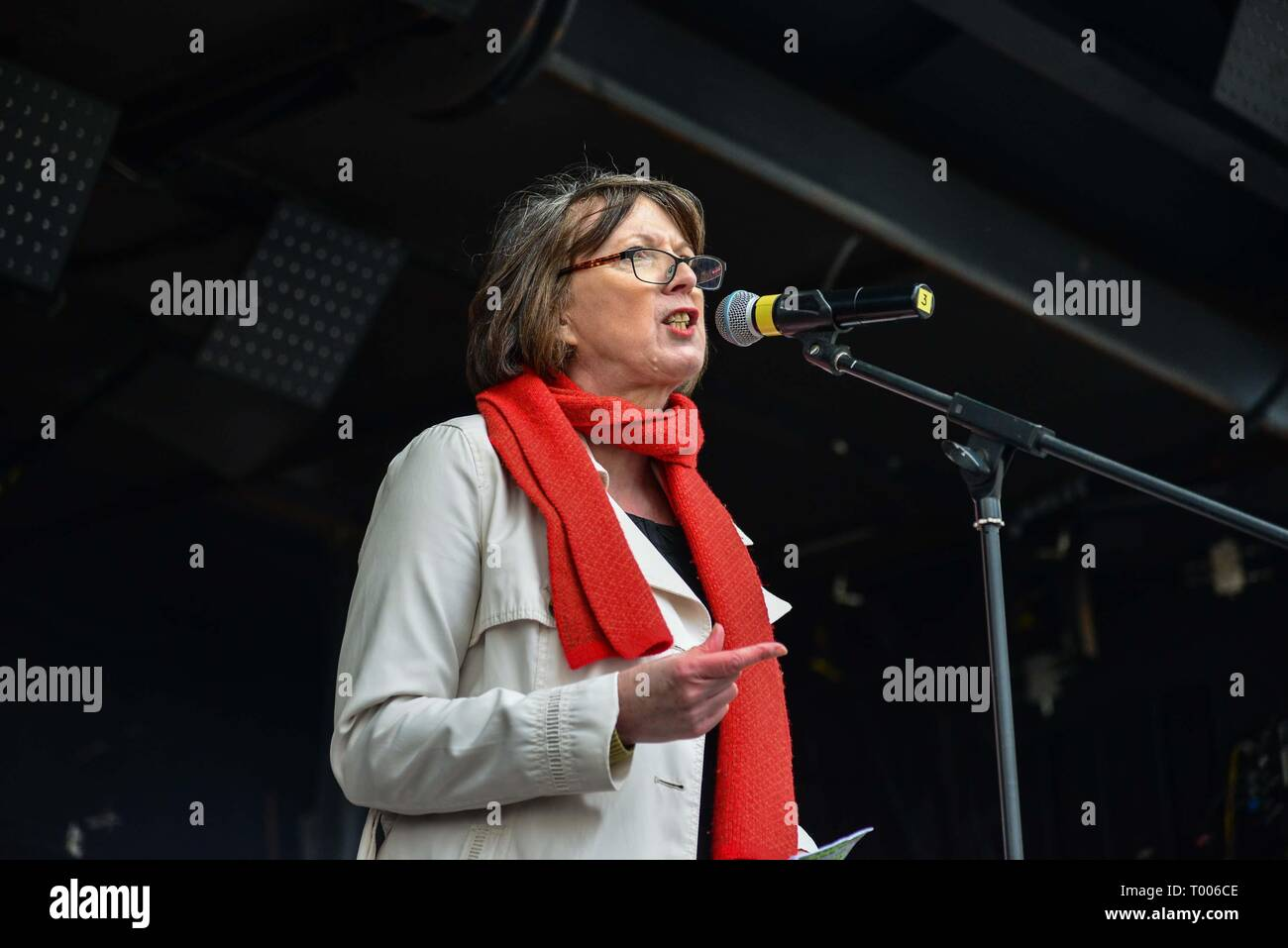 London, UK. 16th Mar, 2019. Frances  O'Grady , General Secretary of the British Trades Union Congress on stage at a rally in Whitehall for the United Nations Anti Racism Day. Credit: Claire Doherty/Alamy Live News - Stock Image
