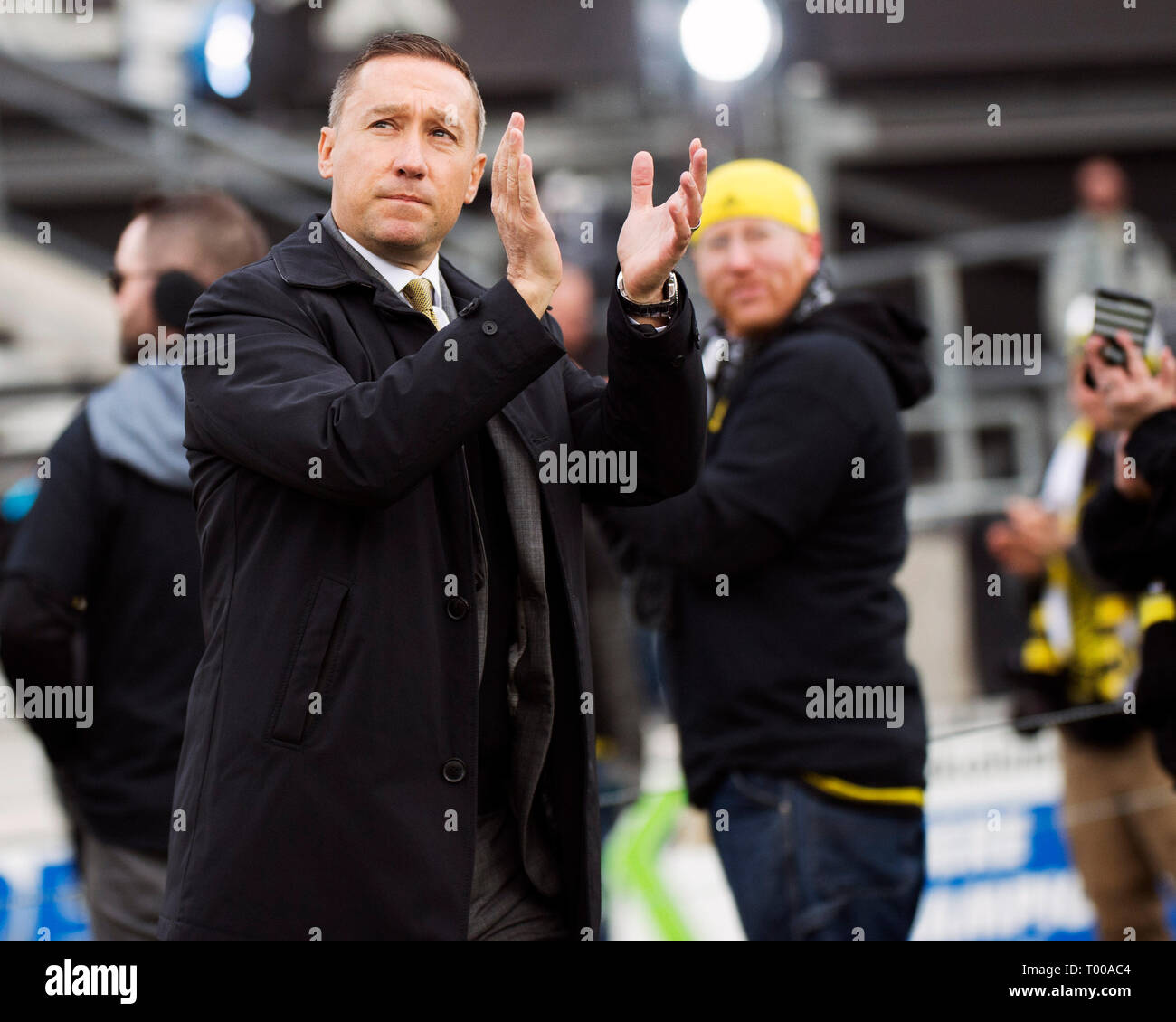 March 16, 2019: Columbus Crew SC head coach Caleb Porter before facing FC Dallas in their game in Columbus, Ohio, USA. Brent Clark/Alamy Live News - Stock Image