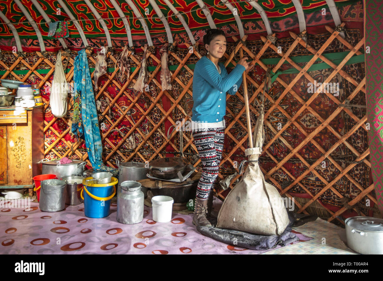 Bayan Olgii, Mongolia, 29th September 2015: Mongoilian kazakh nomad  woman making cheese  in her home yurt Stock Photo