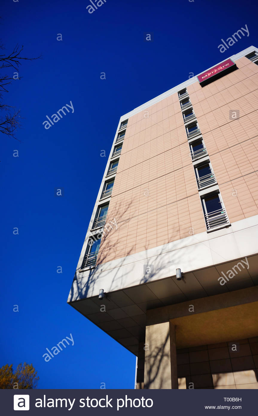 Poznan, Poland - October 31, 2018: High Mercure Hotel building in the city center. Stock Photo