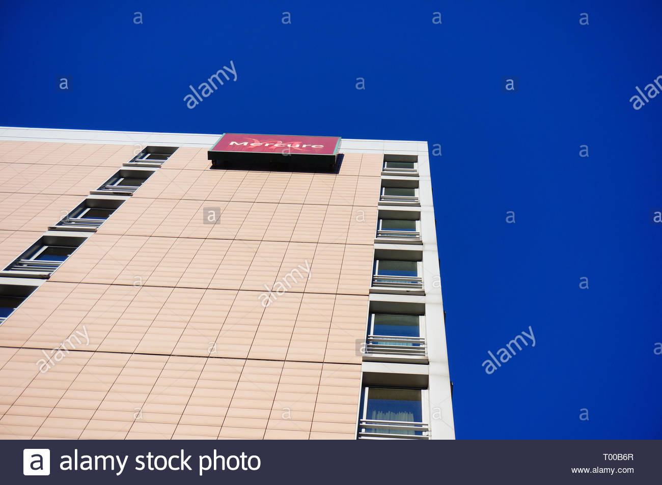 Poznan, Poland - October 31, 2018: Mercure Hotel building from low perspective in the city center. Stock Photo