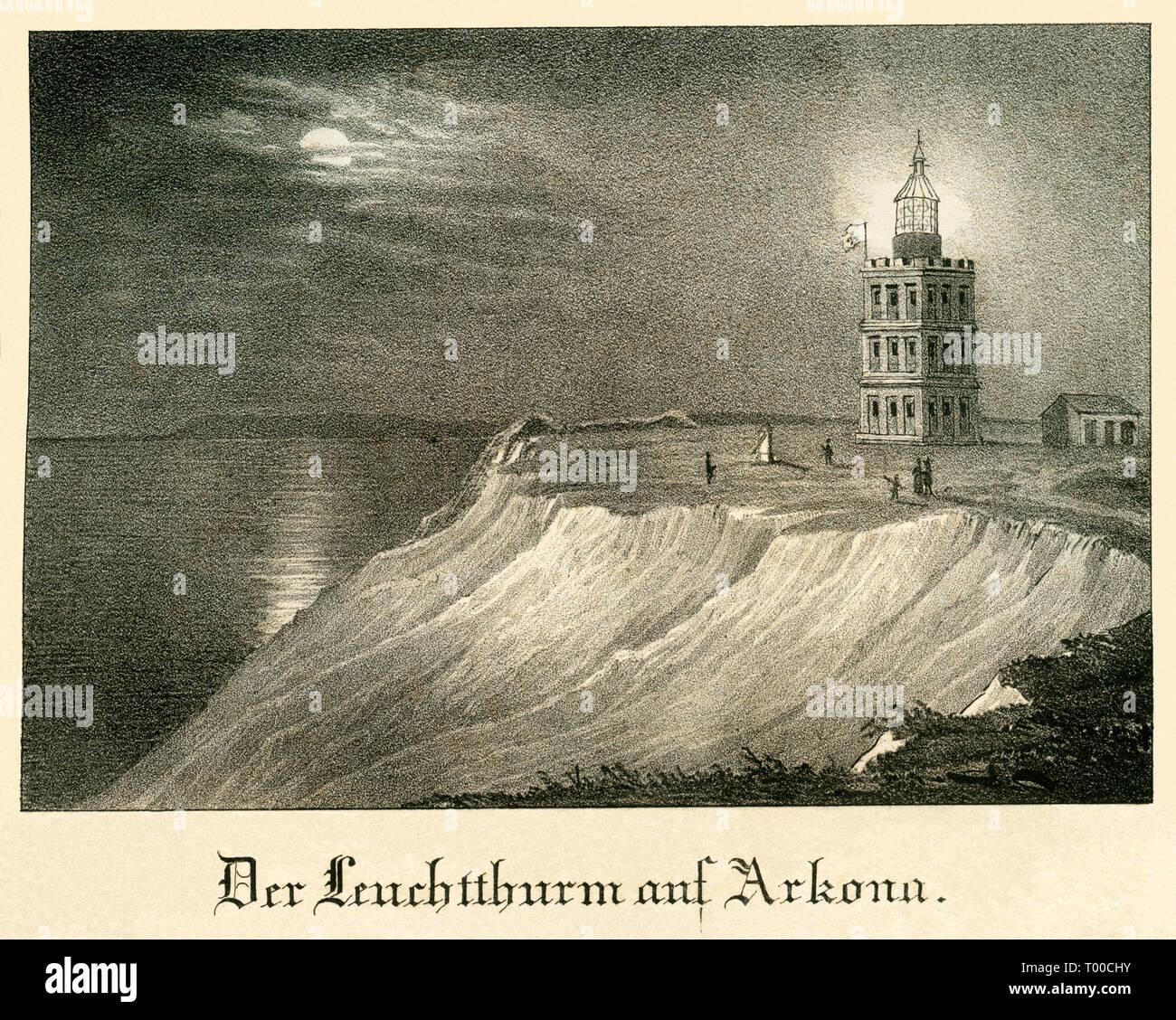 Europa, Deutschland, Mecklenburg-Vorpommern, Rügen, Kap Arkona, Originaltext : Der Leuchtthurm auf Arkona , Stahlstich, um 1840er Jahre, keine Angaben Stock Photo