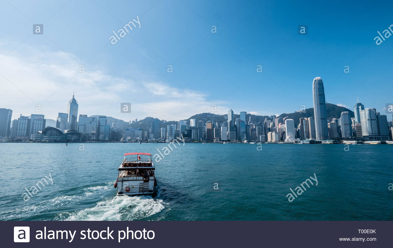 Hong Kong - China / 11 Nov 2016: Shot the Victoria Bay - Hong Kong during the day. The place is a busy financial district that stationed many banking  - Stock Image
