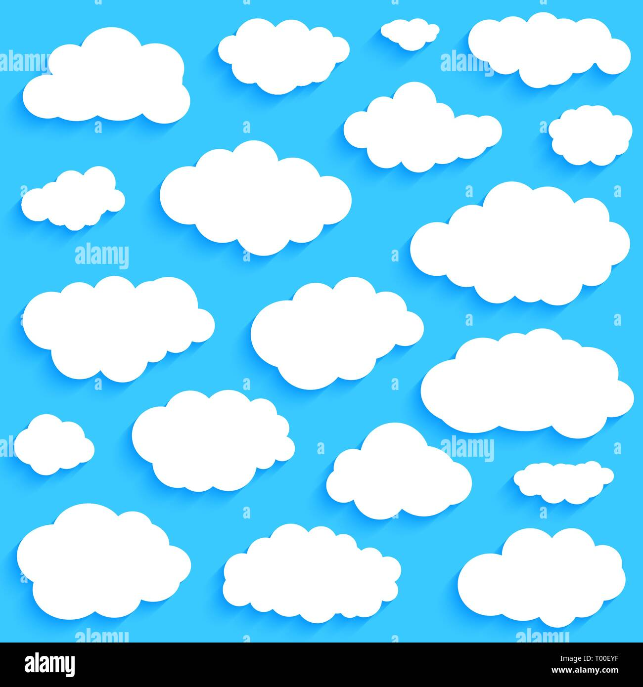 White clouds set on blue sky background vector - Stock Image