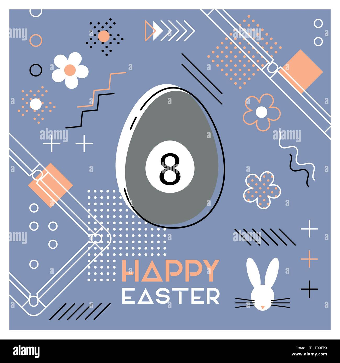 Happy Easter. Greeting card with Easter egg as a billiard ball. Abstract Memphis design. Vector illustration. - Stock Image